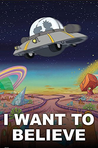 Rick and Morty I Want to Believe 36x24 Animated Cartoon TV A
