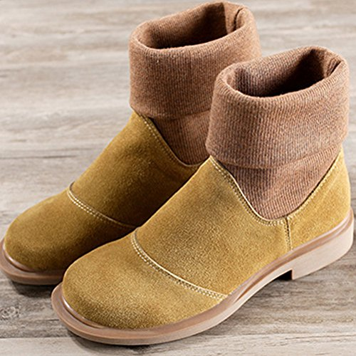 1 Retro Mordenmiss Boots Women's Fleece Fall Winter Style Yellow BYzgUq5z