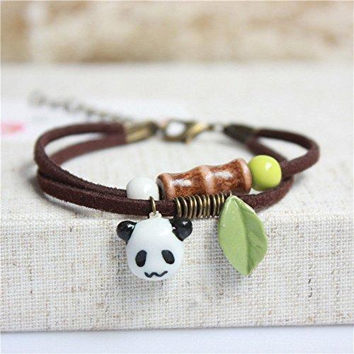 - BAIBUE BUESAWAN Rope Pendant Jewelry Handmade Panda Hand Chain Porcelain Ceramic Bracelet