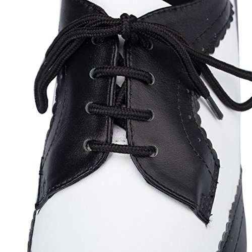 Shoes Lace up Tango Wedding Latin Dance 1'inches Modern Salsa Black Leather TDA Ballroom Womens 7AwqRUU