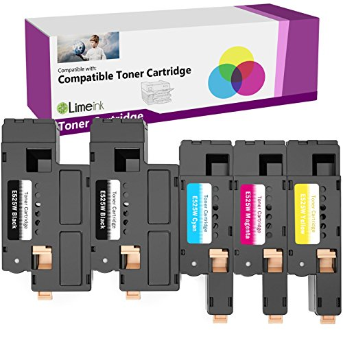 Limeink 5 Pack Compatible High Yield Laser Toner Cartridges Replacement for Dell E525W 525W 525 E525 DPV4T H3M8P (2 Black, 1 Cyan, 1 Magenta, 1 Yellow) Compatible with E525W E525DW Color Laser Printer