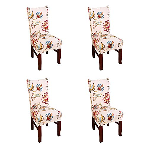 Argstar 4 Pack Chair Covers for Dining Room Spendex Slipcovers Spring Flower Design (Dining Room End High Sets)