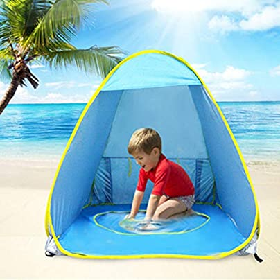 GSTARKL Kids Beach Tent Kids Pool Tent with Pool and Fluorescent Wristband 50 UPF Protection Sun Shelter Estimated Price £31.40 -