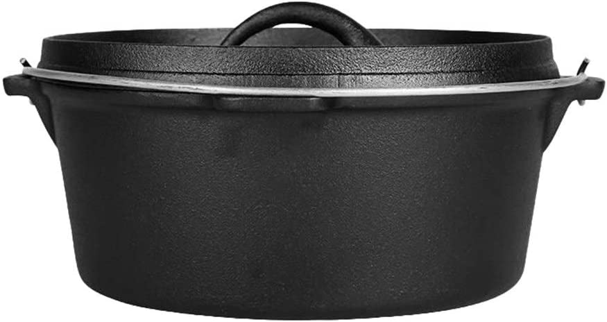 Cookware Dutch Oven Casserole Dish 30CM Cast Iron Pan with Lid (Color : Black)