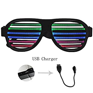 GEREE USB Rechargeable LED Light Shutter Shaded Glasses , Music & Sound Reactive Party Glasses Slotted Sunglasses Eyewear for Nightclub, Disco, Carnival, Halloween, Celebrations, Christmas Gift