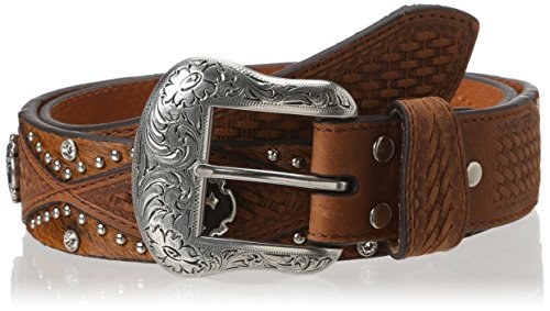 Nocona Belt Co. Men's Diamond Hide Cross Concho, Medium Brown, 38 (Diamond Shaped Conchos)