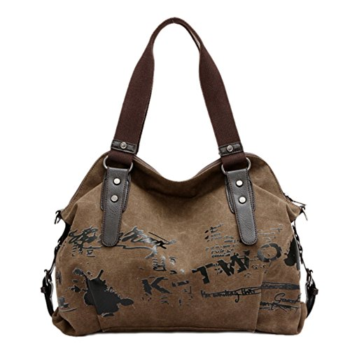 GGTFA Fashion Canvas Letters Graffiti Shoulder Bag Top Handle Handbag Purse Coffee