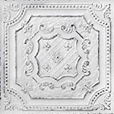 From Plain To Beautiful In Hours DCT04obw-24x24-25 Elizabethan Shield Ceiling Tile Old Black White 25