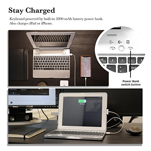 COOPER KAI SKEL P1 Keyboard case compatible with iPad 4, iPad 3, iPad 2 | Bluetooth, Wireless Clamshell Cover with Keyboard | Built-in 2800mAh Power Bank to charge iPad, iPhone | 60HR Battery (Silver) by Cooper Cases (Image #4)