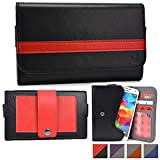 Cooper Cases(TM) Belt Clutch Universal Lava Iris Fuel 50, Pro 20/30/30+, X1 Grand, X5, X8 Smartphone Wallet Case in Black & Red (Belt Mount Strap; Credit Card/ID Slots, Slip Pocket; Dual-Tone Design)