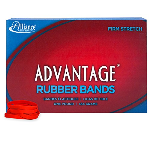 """Alliance Rubber 96625 Advantage Rubber Bands Size #62, 1 lb Box Contains Approx. 450 Bands (2 1/2"""" x 1/4"""", Red)"""