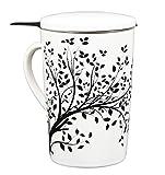 Tea Branch - Black Tree, Ceramic Tea Infuser Mug With Filter and Lid, Single Tea Set, Tea Strainer Mug For Loose Leaf Tea, Tea For One Set, Tea Gifts, Porcelain, Brewing Infuser Tea Cup 12.8 ounce