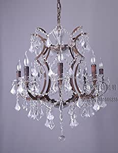 Vintage iron branches oft Crystal candle chandelier,Six-head