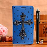 Locaa(TM) For Nokia Lumia 925 Nokia925 Lumia925 3D Bling Case + Stylus + Phone plug Luxury Crystal Pearl Diamond Rhinestone Beautiful Leather Wallet Cover [Color Series 3] Blue case - Cross