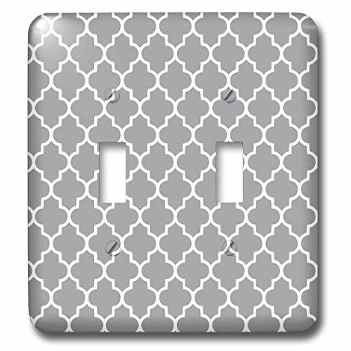 3dRose lsp_120259_2 Dark Gray Quatrefoil Pattern Grey Moroccan Tiles Modern Stylish Geometric (Gray Clock Plate)