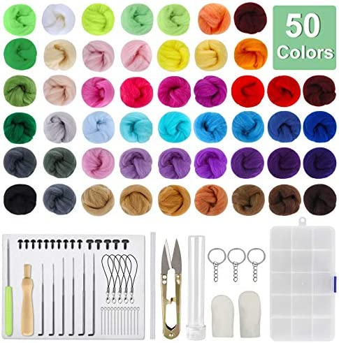 Milisten DIY Rabbit Wool Felting Animal Needle Felting Kit with Colored Wools Needles Foam Mat Instruction Safety Eyes and Keychains for DIY Art Craft Yellow