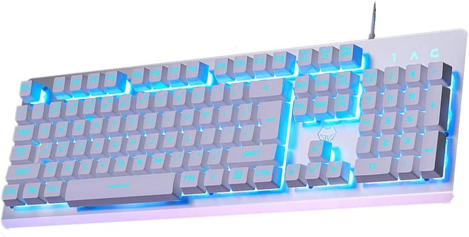 Full-Sized Light Up Blue LED 104 Keys Double Injection Keycaps,Non-Slip HourenJP Membrane Keyboard Ergonomic Design Gaming and Daily Use Spill-Resistant