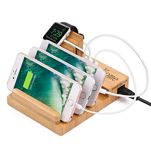 Apple Watch Stand Bamboo Charging Station for Multiple Devices, Yome Wood Docking Station Organizer Stand with 3 USB Ports, Holder Cradle for iWatch & iPhone & Tablet & iPad by Yome
