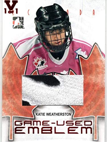 2007-08 ITG O Canada Emblems #GUE36 Katie Weatherston 2 Color From the Vault Version Jersey Patch Card Serial #1/1