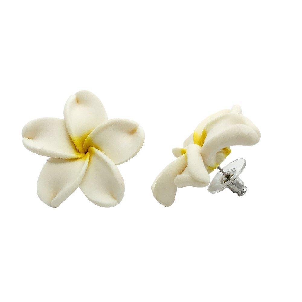 Amazon Hawaiian Jewelry Fimo White Plumeria Flower Earrings 3