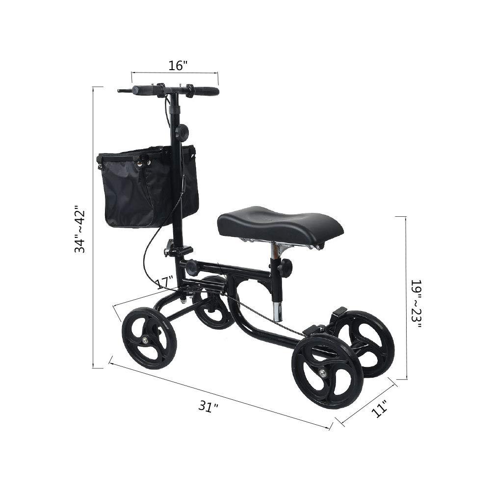 ELENKER Steerable Knee Walker Deluxe Medical Scooter for Foot Injuries Compact Crutches Alternative Black by ELENKER (Image #2)