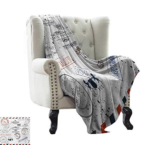 """Blanket as Bedspread Vintage,Retro Post Stamps Postage Mail Paris Antique Artistic Design Vocation Traveling,Multicolor Soft Summer Cooling Lightweight Bed Blanket 70""""x90"""""""