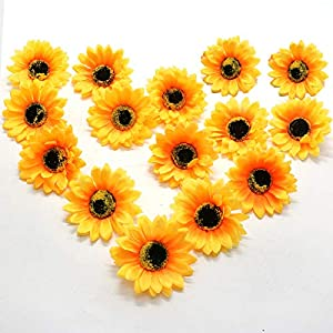 AQUEENLY Fake Sunflowers Yellow Artificial Sunflowers Head for Beach Wedding Wreath Party Decorative, 30 PCS 112