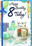 Age 8 Boy Birthday Card - Rainbow Cake, Presents, Balloon & Bunting 7.5' x 5.25'