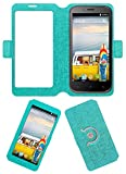 Acm SVIEW Window Designer Rotating Flip Flap Case for Micromax Bolt A82 Mobile Smart View Cover Stand Turquoise