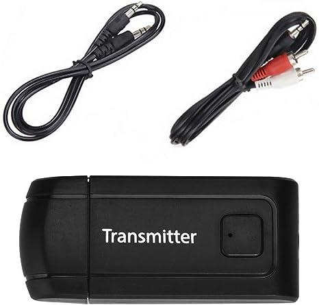 JIANGfu - Transmisor inalámbrico USB BT4.0 para TV, teléfono y PC, con Cable de Audio RCA a 3,5 mm Negro Negro: Amazon.es: Informática
