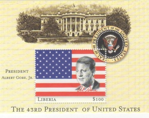 Liberia Sheet (Liberia 43rd President of the US - Albert Gore collector's stamp Souvenir Sheet)