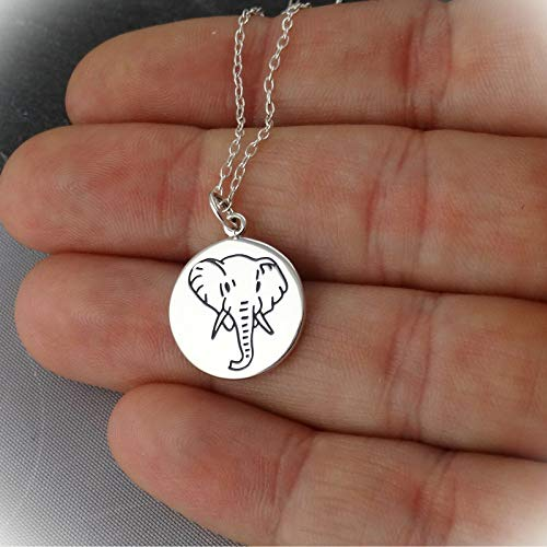 Elephant Charm Statement Chunky Pendant Rhinestone Necklace for Women Silver Etched Disc Spirit Animal Gift
