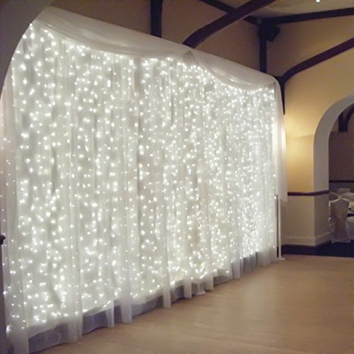 Ucharge Led Light Curtain Icicle Lights 300led 9.8feet 8modes Linkable Unsullied Christmas Curtain String Fairy Wedding Lights for Home, Garden, Kitchen, Bedroom, Livingroom, Party, Window Decorations