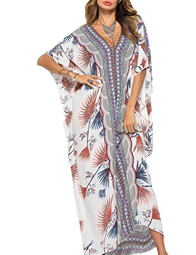 Bsubseach Women V Neck Ethnic Kaftan Maxi Dresses Half Sleeve Beach Long Cover Up Dress