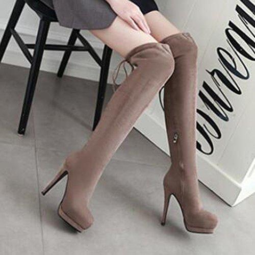 High Lace Knee High Boots Sexy Platform Heel Toe Up apricot Women's Aisun Round Stiletto Z1wYqp