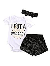 Baby Girls Clothes Set White Top letter Print Romper+Bow Shorts+Sequins Headband