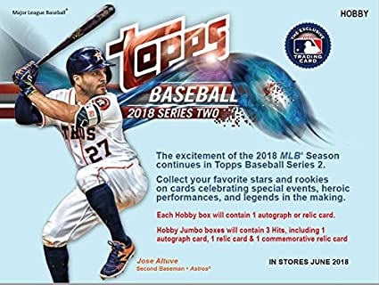 2018 Topps Series 2 Baseball Hobby Box 36 Packs10 Cards 1 Autograph Or Relic