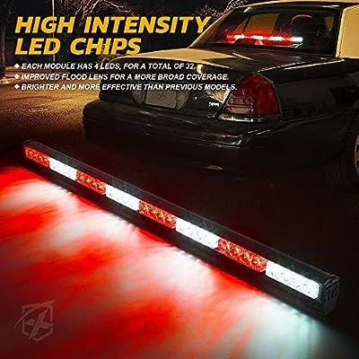 "Xprite 35.5"" White Mix Red 32 LED Traffic Advisor Advising Emergency Vehicle Strobe Top Roof Light Bar w/ 13 Warning Flashing Modes for Trucks Cars: Automotive"