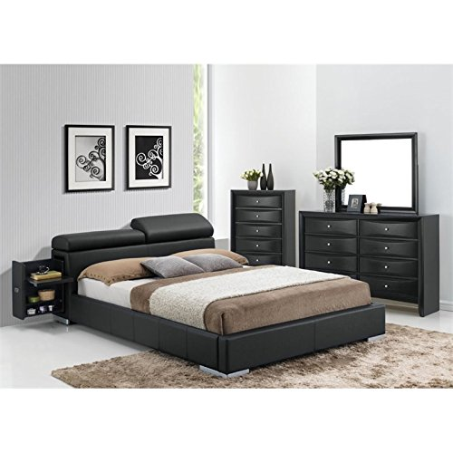 ACME Furniture Manjot 20750Q Queen Bed with 2 Built-In Nightstands, black Pu by Acme Furniture