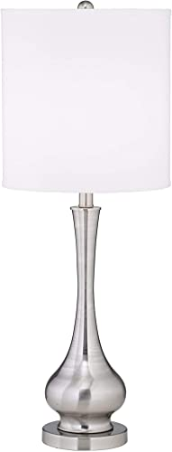 Modern Buffet Table Lamp Brushed Steel Tall Gourd White Drum Shade