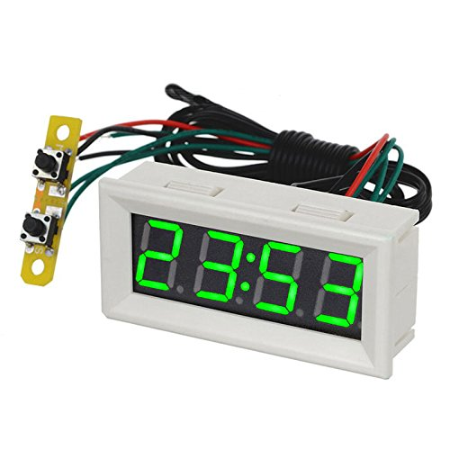 0.56 inch Green LED Clock Voltage Temperature Digital Display Thermometer Voltmeter Electrical Test Meters Thermal Sensors - White by AiELEMZION