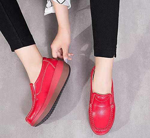 Air Compensées Chaussures De Plein Décontractées Lovejin Plateforme À Minceur Sports Baskets Sneaker Rouge Course Femmes Fitness p1q74nqB