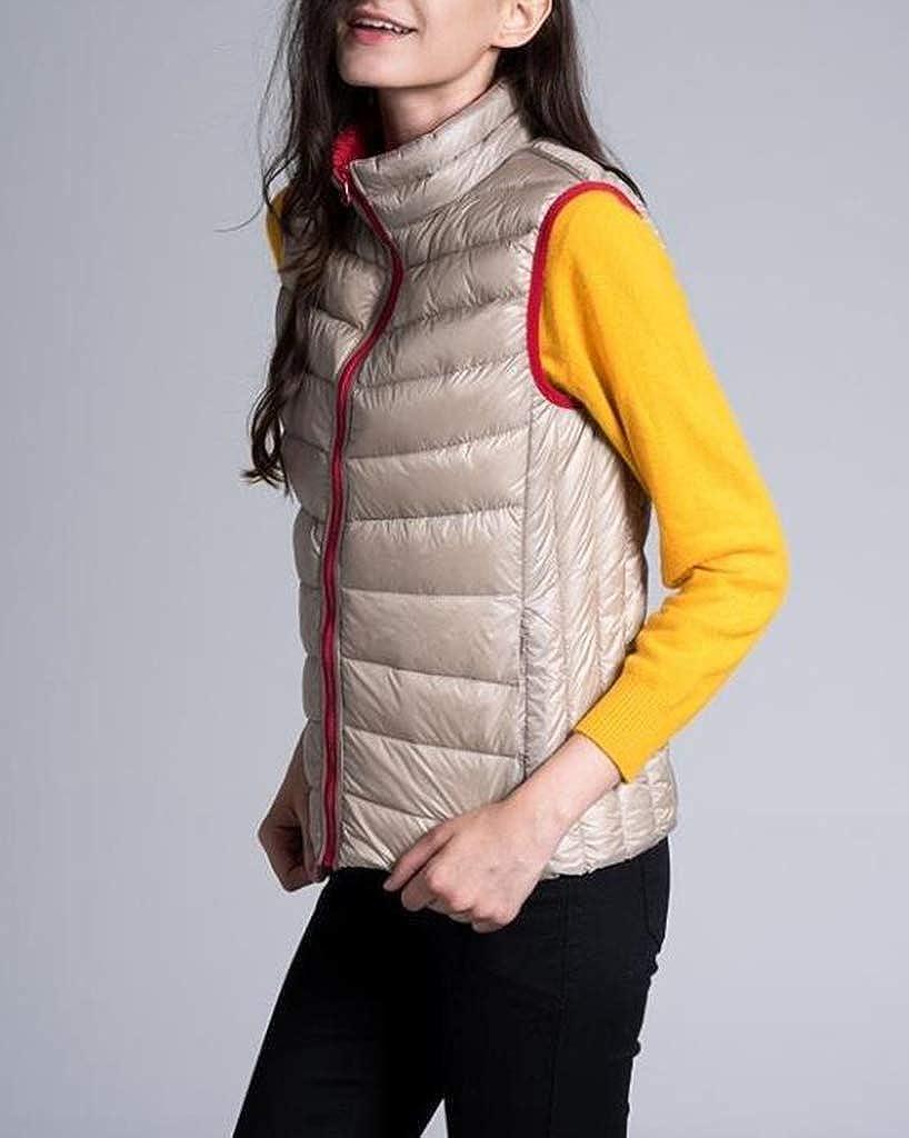 Doudoune sans Manche Femme Gilet R/éversible Veste Ultra L/ég/ère Veste de Canard Blanc Duvet Chaud Manteau Hiver Blouson
