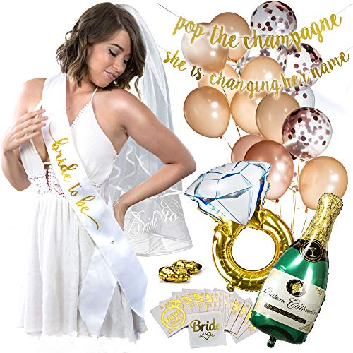 Bachelorette Party Decorations - Rose Gold-Balloons-Bride to Be-Glitter-Banners-Sash-Tattoos-Veil- Engagement Ring, Champagne Foil Balloons -
