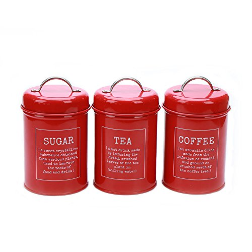 (Hot Sale X021 Set of 3 Metal Food Storage Tin Canister/Jar/Container with Lid (red))