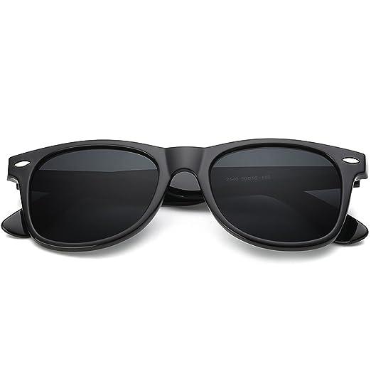 48dba2cec5 Image Unavailable. Image not available for. Color  Lrrtwer Mens Polarized Wayfarer  Sunglasses for Women Classic Matte Black Frame ...