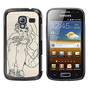 FlareStar Colour Printing Artist Drawing Sketch Painting Woman cáscara Funda Case Caso de plástico para Samsung Galaxy Ace 2 i8160 / Ace2 II XS7560M