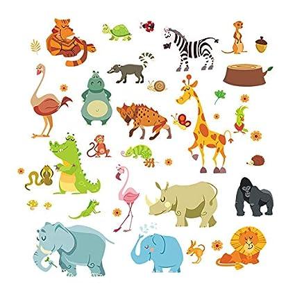 WAY2BB Sticker d/écoration mural animaux pastels aquarelles chambre enfant b/éb/é cadeau noel 2018 aquarelle licorne
