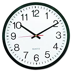 Universal 10431 Round Wall Clock, 12 5/8 dia., Black