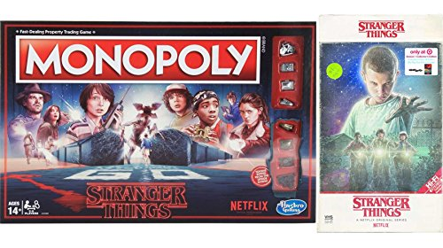 Stranger Things Mystery Monopoly Game & Exclusive VHS Set Season 1 4K + Blu-Ray 4 Disc Box Special Edition 2-Pack Combo Bundle